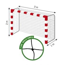 Filet de Handball réglementaires buts 3mx2mx1m Cablé PE 2 mm Maille 120 simple Noir Sporti