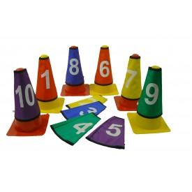Lot de 10 caches cônes numérotés Sporti