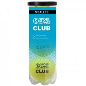 Tube de 3 balles de Tennis Club - Sporti 012070