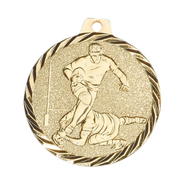 Médaille Rugby 50 mm Or France Sport