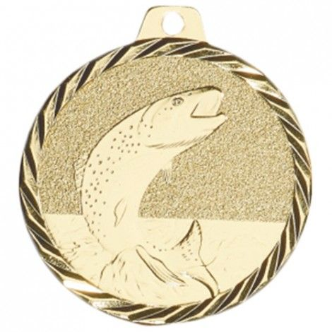 Médaille Pêche 50 mm Or France Sport