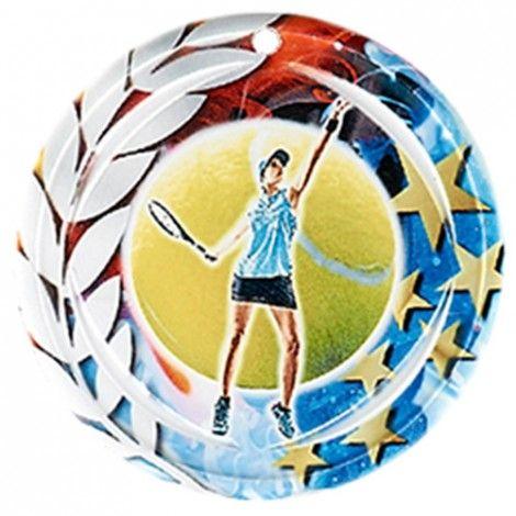 Médaille Céramique Tennis féminin 70 mm France Sport