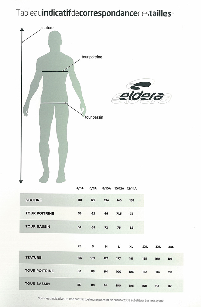 Guide des tailles Eldera