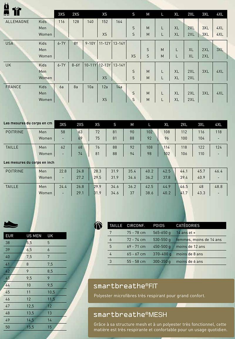 Guide des tailles Spalding