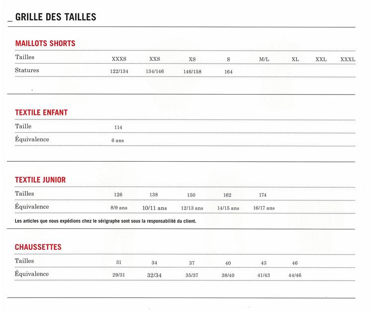 Grilles des tailles Umbro - Correspondance des tailles Umbro